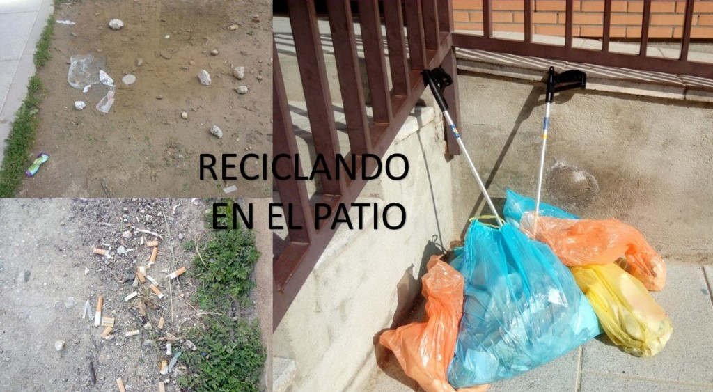 COLLAGE RECICLANDO EN EL PATIO